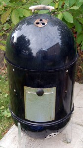 Our trusty old Weber Smoky Mountain bullet-style smoker